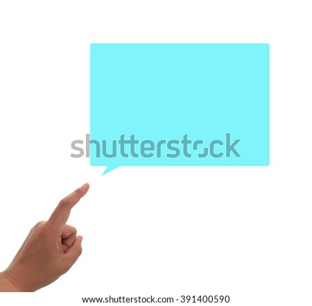 hand and opening speech on the isolated background - stock photo