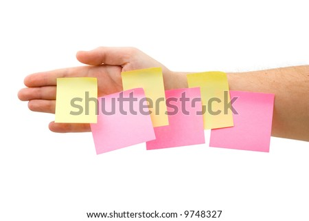 Hand and papers, isolated on white background