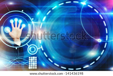 hand and shining digital interface - stock photo