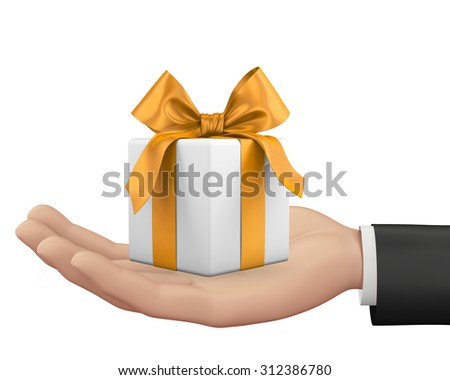 hand and small box-gift 3d image.