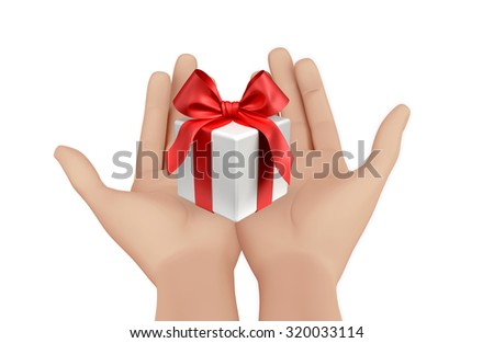 hand and small box-gift 3d image. - stock photo