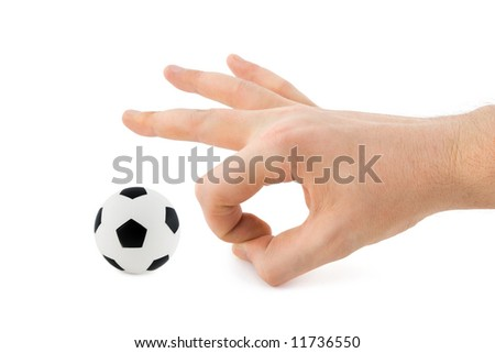 Hand and soccer ball, isolated on white background - stock photo