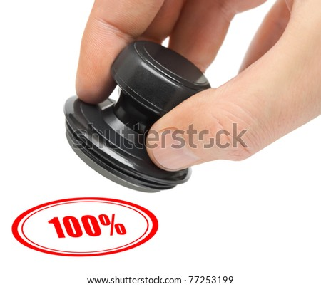 Hand and stamp 100 percent isolated on white background - stock photo