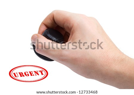 Hand and stamp Urgent, isolated on white background - stock photo