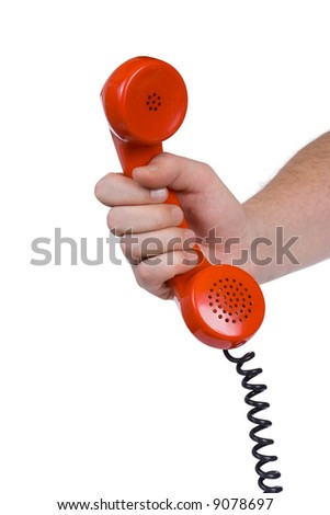 Hand and telephone receiver, isolated on white background