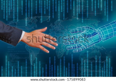 hand and virtual hand touching ,concept of global connection