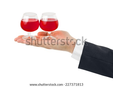 Hand and wineglasses isolated on white background