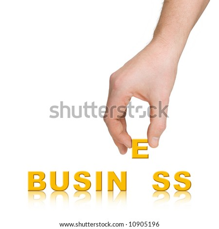 Hand and word Business, isolated on white background