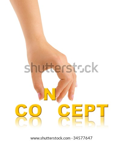 Hand and word Concept isolated on white background - stock photo