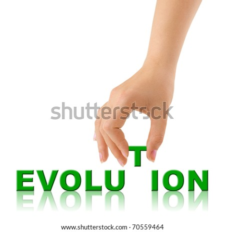 Hand and word Evolution isolated on white background - stock photo