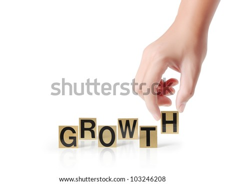 Hand and word growth on white background - stock photo