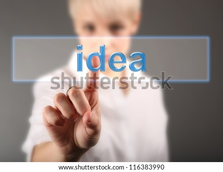 Hand and word idea - business concept (isolated on white background) - stock photo