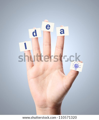Hand and word Idea on white background