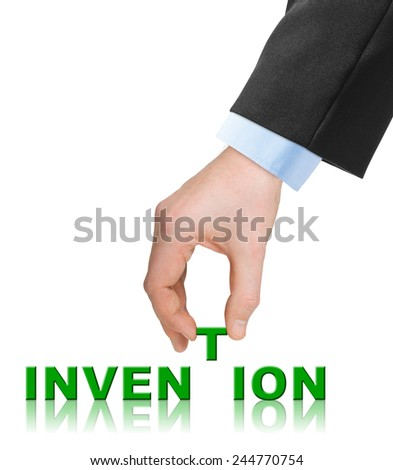 Hand and word Invention isolated on white background - stock photo