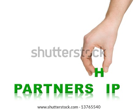 Hand and word Partnership, business concept, isolated on white background