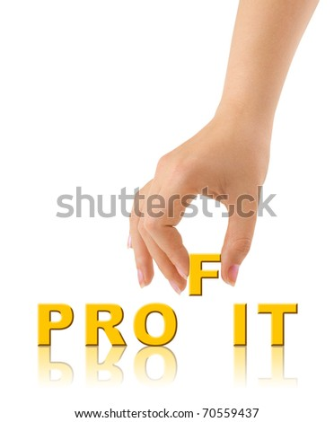 Hand and word Profit isolated on white background
