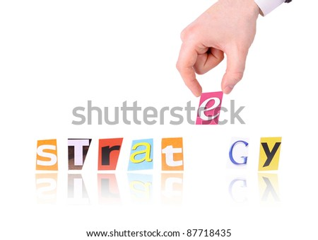 Hand and word strategy isolated on white background - stock photo