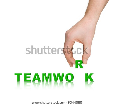 Hand and word Teamwork, business concept, isolated on white background - stock photo