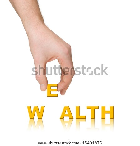 Hand and word Wealth, business concept, isolated on white background