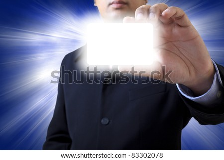 Hand and words  with a bright background - stock photo