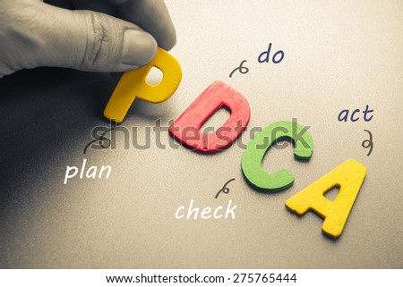 Hand arrange wood letters as PDCA abbreviation ( plan, do, check, act) - stock photo