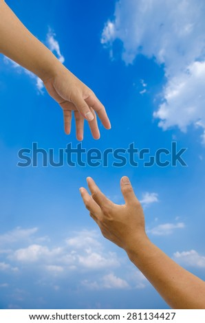hand arrested on blurred sky  background concept help