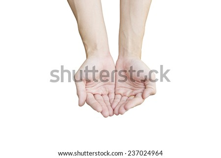 hand,asking for help isolate on white background - stock photo