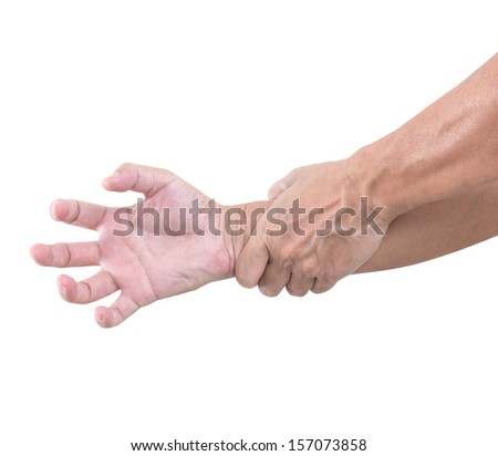 Hand bent isolated on white background, with clipping path - stock photo