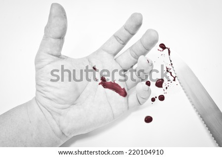 hand bleed by knife  - stock photo