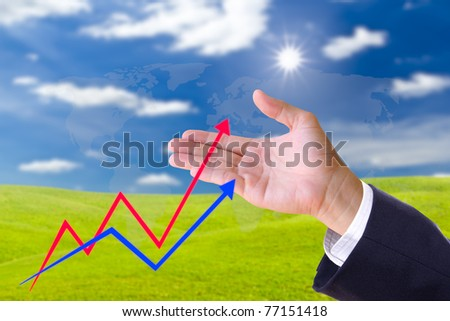 hand bring up the graph in blue sky