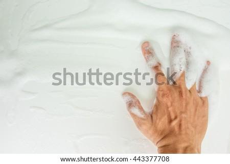 hand bubbles foam white washing shower - stock photo