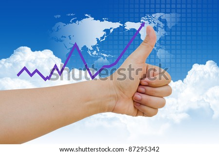 hand business graph on blue sky