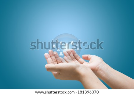 Hand business man show Life insurance concept  - stock photo