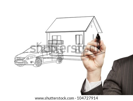 hand businessman draws a model house and car - stock photo