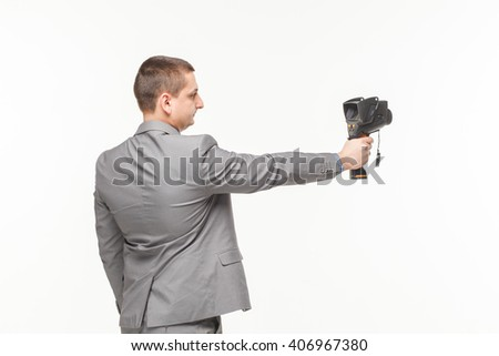 Hand car mechanic with a wrench Isolated white  - stock photo