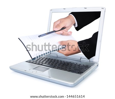 Hand carry books and pens out of the laptop screen, isolated on white background - stock photo