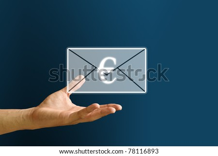 Hand carry the payment and Euro icon, You got money concept - stock photo