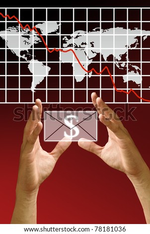 Hand carry the profit with the down of stock's exchange crisis - stock photo