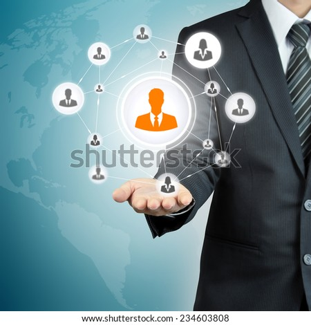 Hand carrying businessman icon network - HR,HRM,MLM, teamwork & leadership concept - stock photo