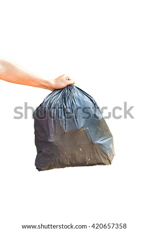 Hand carrying garbage bag isolated on white background - stock photo