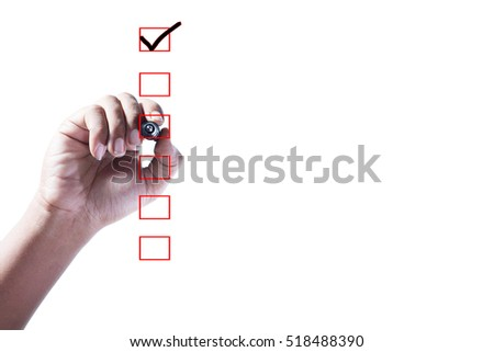 Hand Checking of the first item in check box on white background.