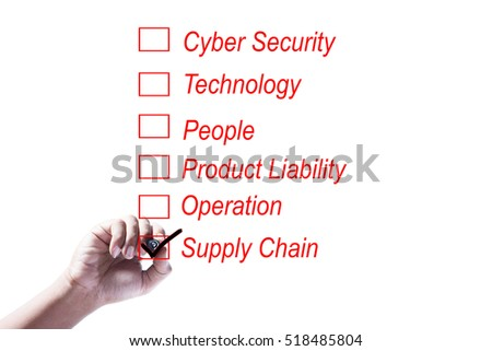 Hand Checking of the last item of a risk assessment checklist on white background
