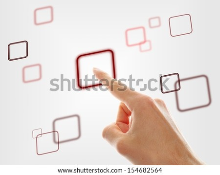 hand choosing one of the different options on grey background