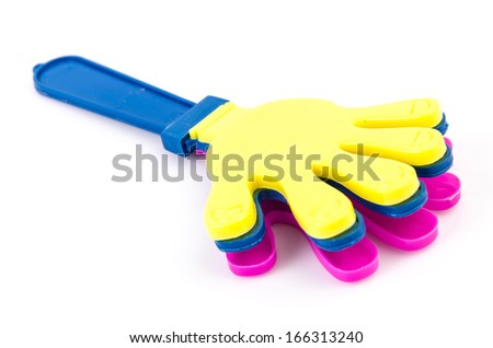 Hand clap toy on isolated white background