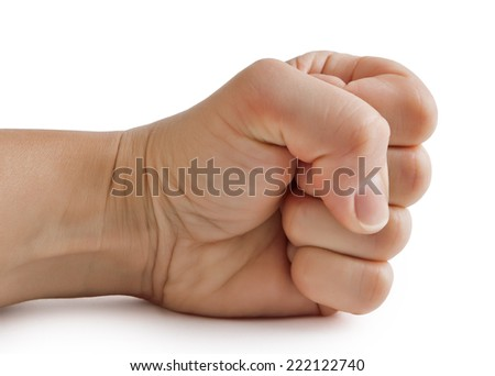Hand, clenched in a fist - stock photo