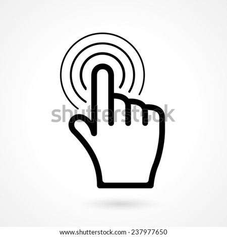 Hand click cursor or pointer icon on white background - stock photo