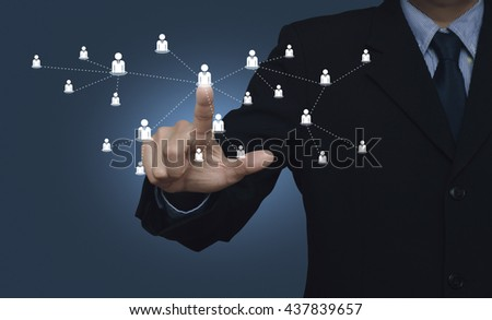 Hand click on businessman icon connection on blue background