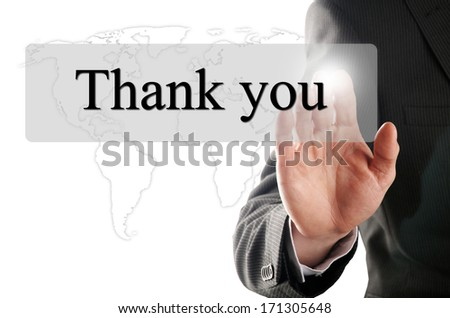 hand click on the button with the word thank you - stock photo