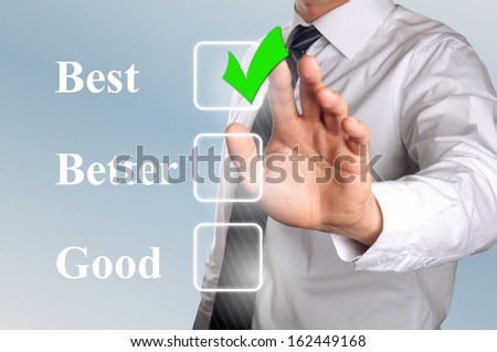 hand click the option best in check box - stock photo