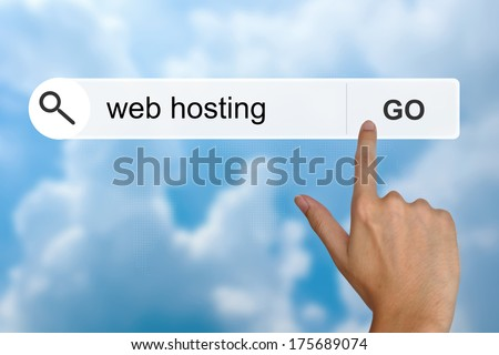 hand click web hosting button on search toolbar - stock photo